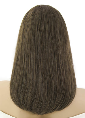"12"" Medium Straight Bob Greenish Brown Lace Front Remy Natural Hair Wig HH097 - wifhair"