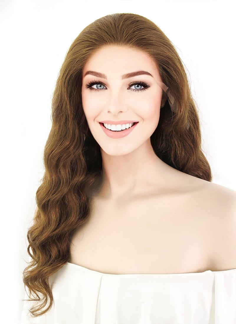 "20"" Long Wavy Medium Brown Lace Front Virgin Natural Hair Wig HH098 - wifhair"