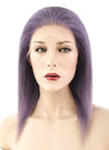 "12"" Long Straight Grey Lilac Full Lace Remy Natural Hair Wig HH099"