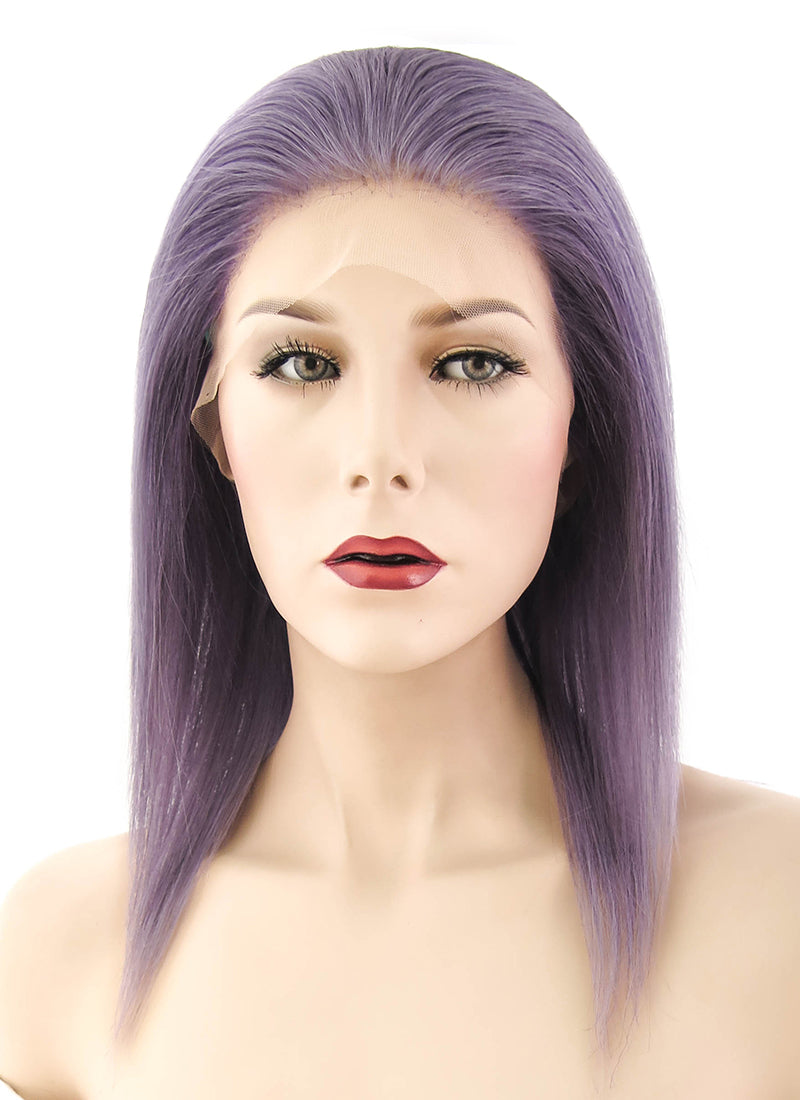 "12"" Medium Straight Grey Lilac Full Lace Remy Natural Hair Wig HH099 - wifhair"