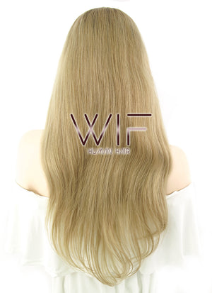 "20"" Long Wavy Ash Blonde With Dark Roots Lace Front Remy Natural Hair Wig HH102 - wifhair"