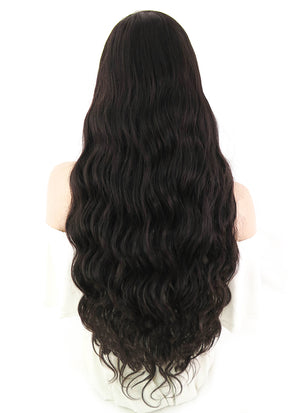 "24"" Long Wavy Chocolate Brown Lace Front Remy Natural Hair Wig HH105 - wifhair"