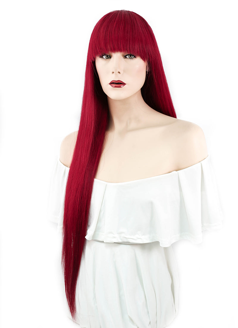 "26"" Long Straight Red Lace Front Remy Natural Hair Wig HH106"