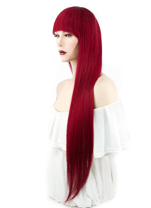 "26"" Long Straight Red Lace Front Remy Natural Hair Wig HH106 - wifhair"