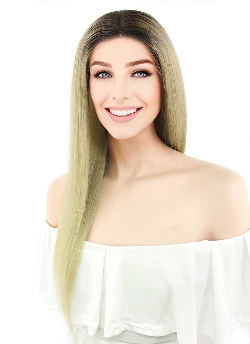 "18"" Long Straight Blonde With Dark Brown Roots Lace Front Remy Natural Hair Wig HH110"