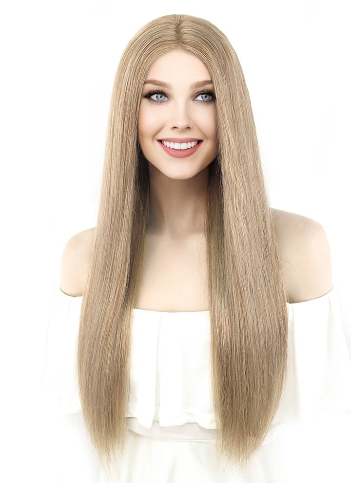 "22"" Long Straight Ash Brown Lace Front Brazilian Natural Hair Wig HH113"