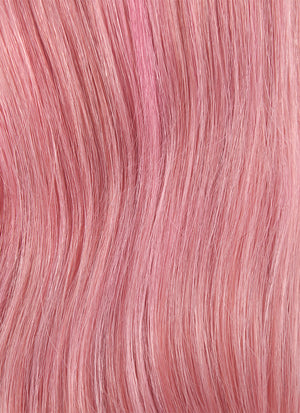 "24"" Long Wavy Pink Mixed Red With Brown Roots Full Lace Remy Natural Hair Wig HH114"