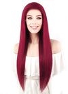 "24"" Long Straight Red Lace Front Remy Natural Hair Wig HH117 - wifhair"