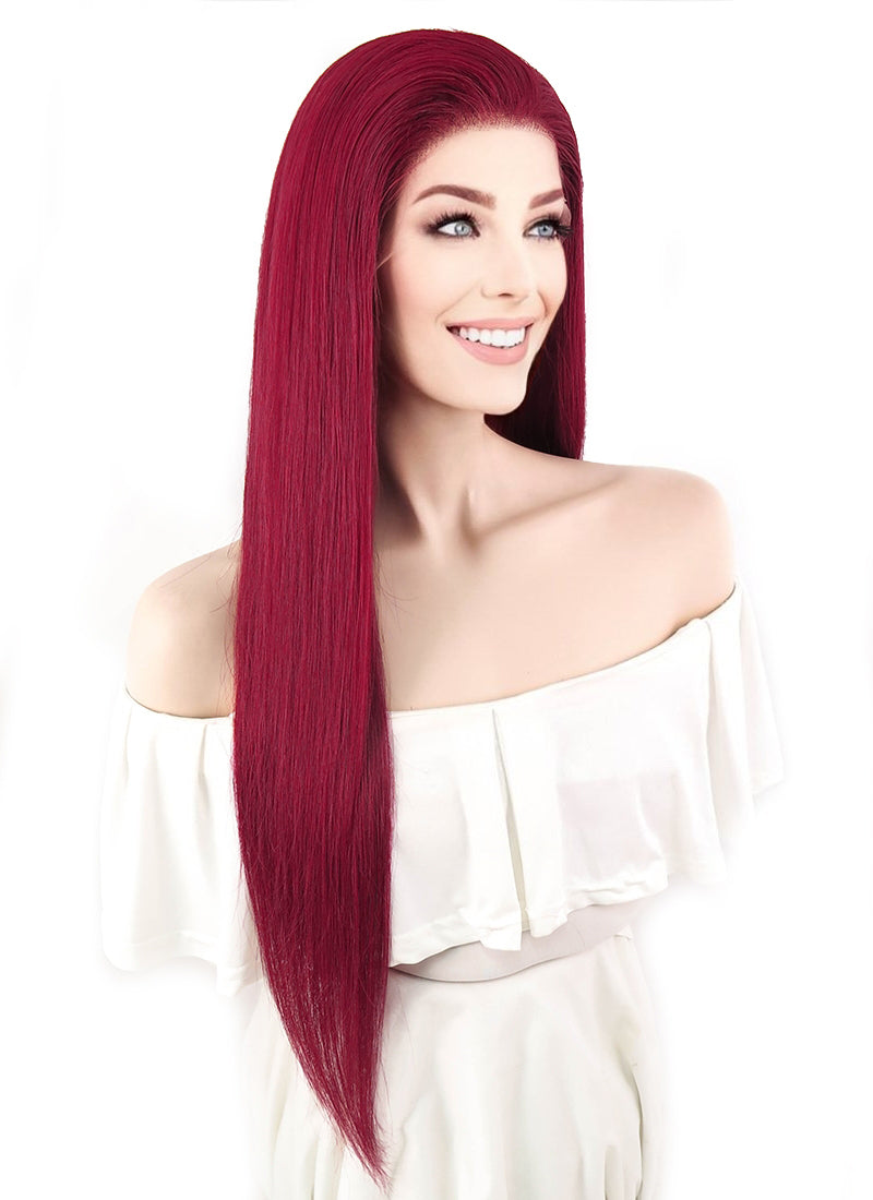"24"" Long Straight Red Lace Front Remy Natural Hair Wig HH117"