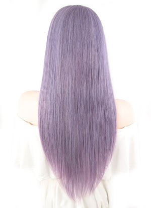 "20"" Long Straight Grey Lilac Lace Front Remy Natural Hair Wig HH118"