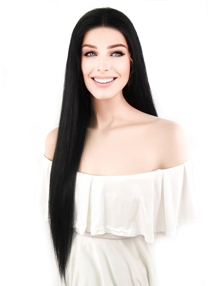 "24"" Long Straight Jet Black Lace Front Remy Natural Hair Wig HH119 - wifhair"