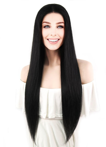 "24"" Long Straight Jet Black Lace Front Brazilian Natural Hair Wig HH119 - wifhair"