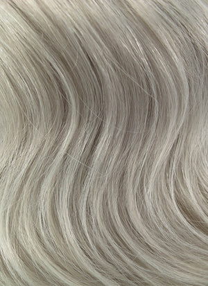 "16"" Long Curly Ash Grey With Brown Roots Lace Front Remy Natural Hair Wig HH120"