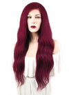 "22"" Long Curly Burgundy Lace Front Remy Natural Hair Wig HH121 - wifhair"