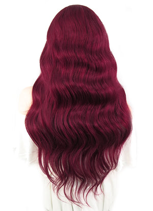 "22"" Long Curly Burgundy Lace Front Remy Natural Hair Wig HH121"