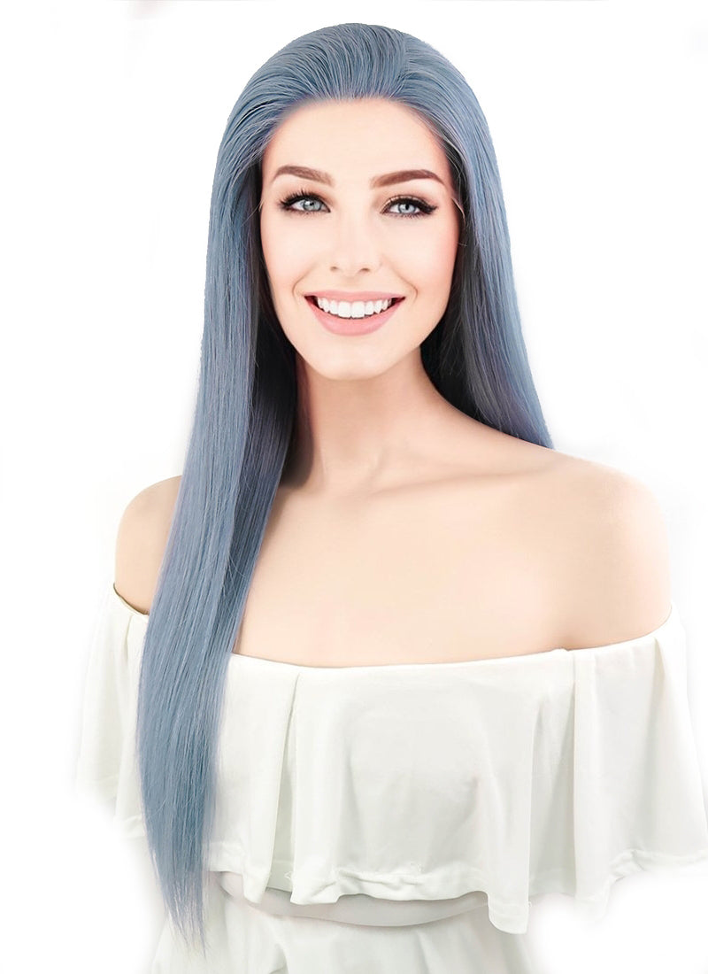 "18"" Long Straight Light Gray Blue Lace Front Remy Natural Hair Wig HH125"