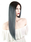 "18"" Long Straight Dark Gray Blue With Brown Roots Lace Front Remy Natural Hair Wig HH126 - wifhair"