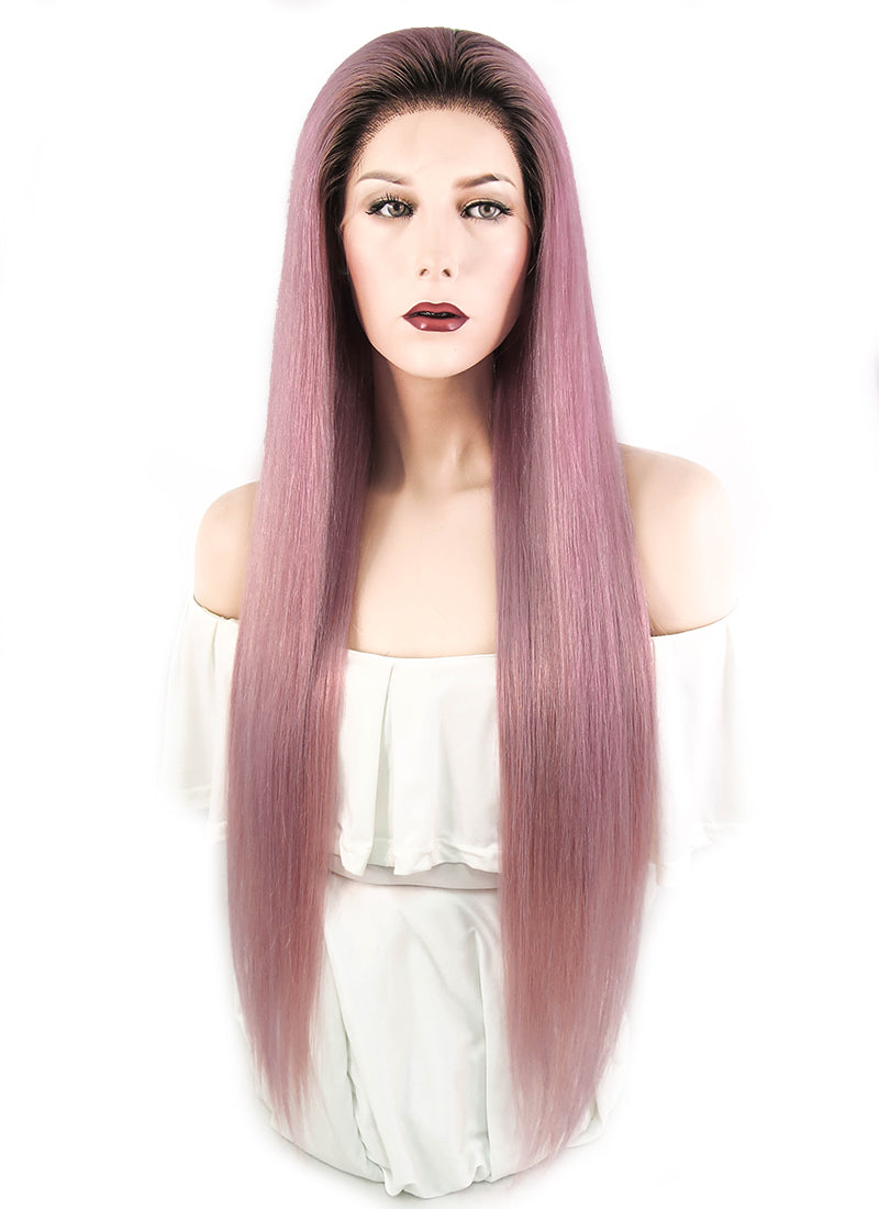 "26"" Long Straight Pink With Brown Roots Full Lace Virgin Natural Hair Wig HH127"