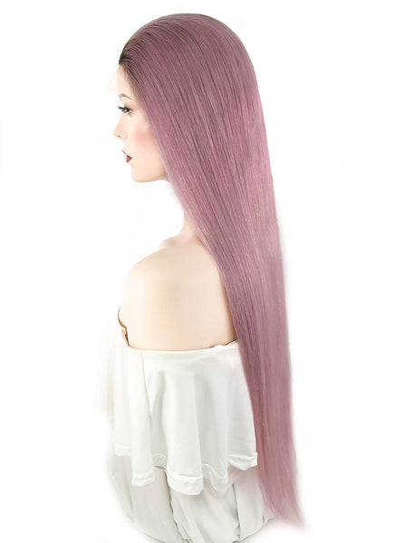 "26"" Long Straight Pink With Brown Roots Full Lace Virgin Human Hair Wig HH127 - wifhair"