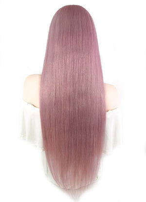 "26"" Long Straight Pink With Brown Roots Full Lace Virgin Natural Hair Wig HH127 - wifhair"