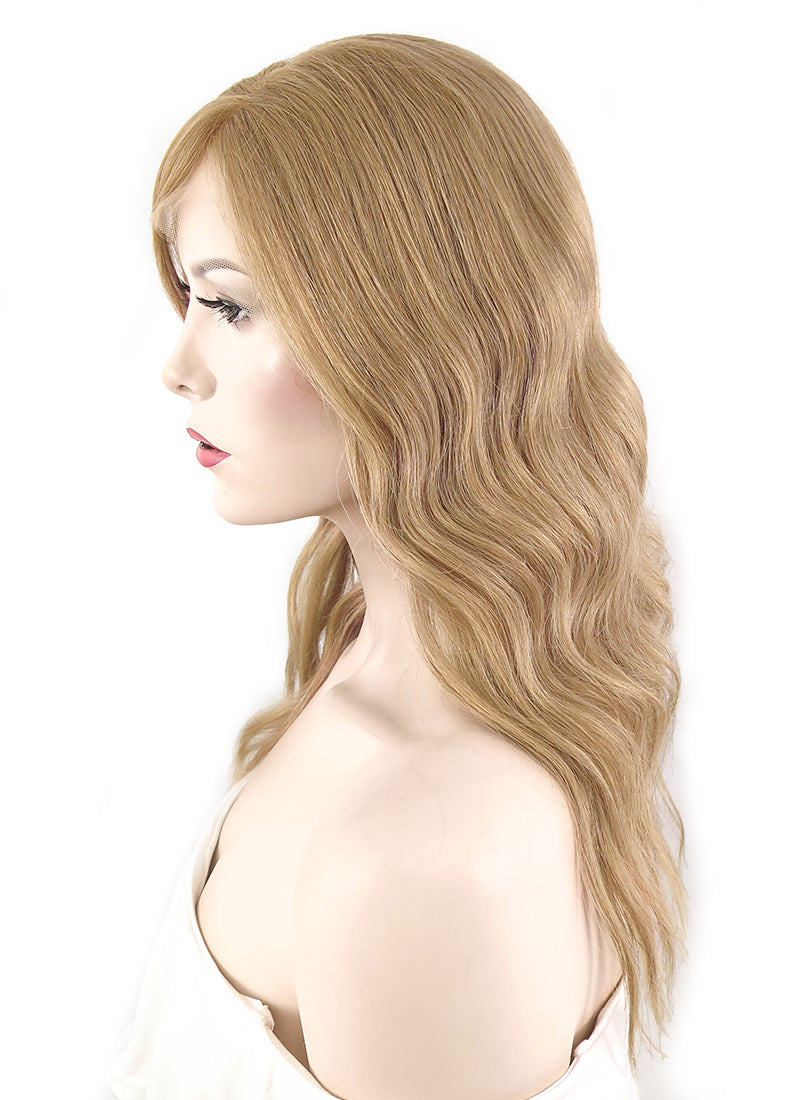 "12"" Long Curly Light Brown Lace Front Remy Natural Hair Wig HH130"