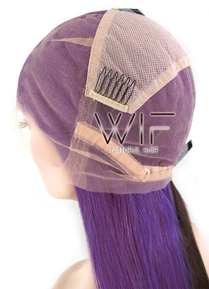 "18"" Long Straight Purple Mixed Mocha Brown Full Lace Virgin Natural Hair Wig HH131 - wifhair"