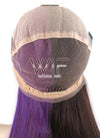 "18"" Long Straight Purple Mocha Brown Split Color Full Lace Virgin Natural Hair Wig HH131 - wifhair"