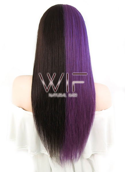 "18"" Long Straight Purple Mixed Mocha Brown Full Lace Virgin Human Hair Wig HH131 - wifhair"
