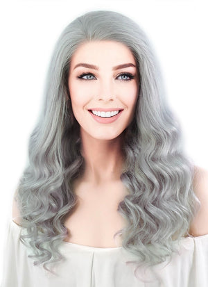 "16"" Long Curly Light Grey Lace Front Remy Natural Hair Wig HH132 - wifhair"