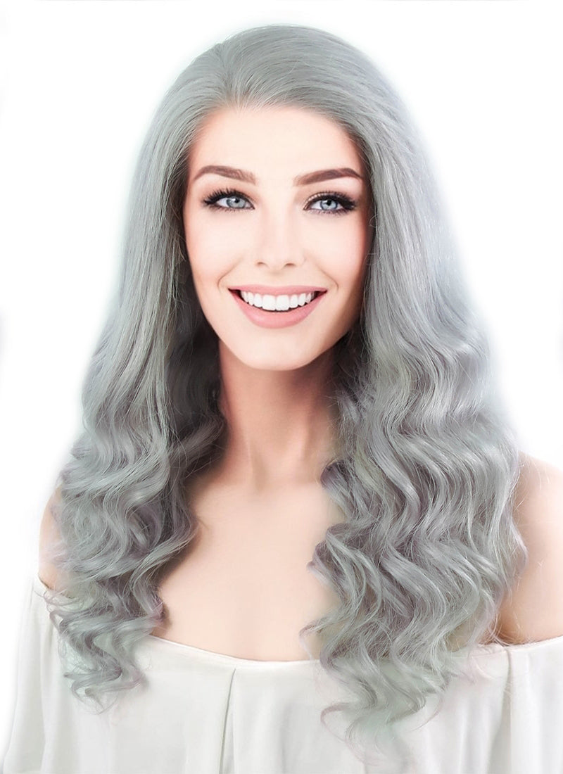 "16"" Long Curly Light Grey Lace Front Remy Natural Hair Wig HH132"
