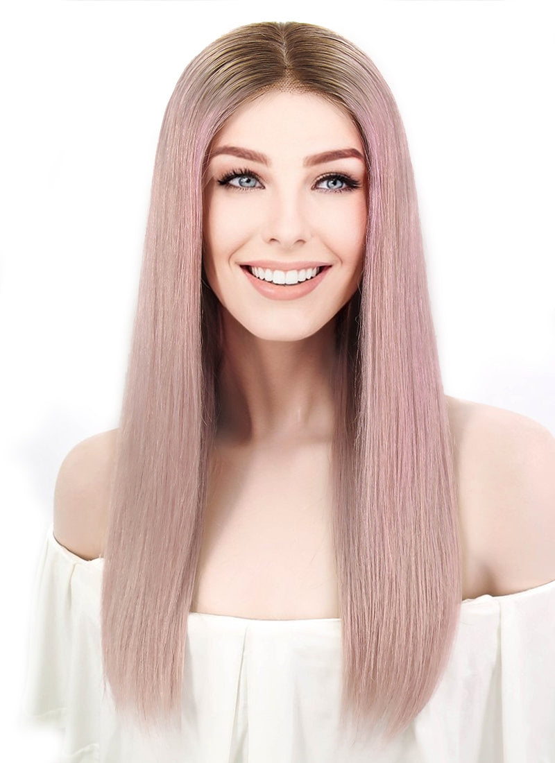 "18"" Long Straight Pink With Dark Brown Roots Full Lace Remy Natural Hair Wig HH139"