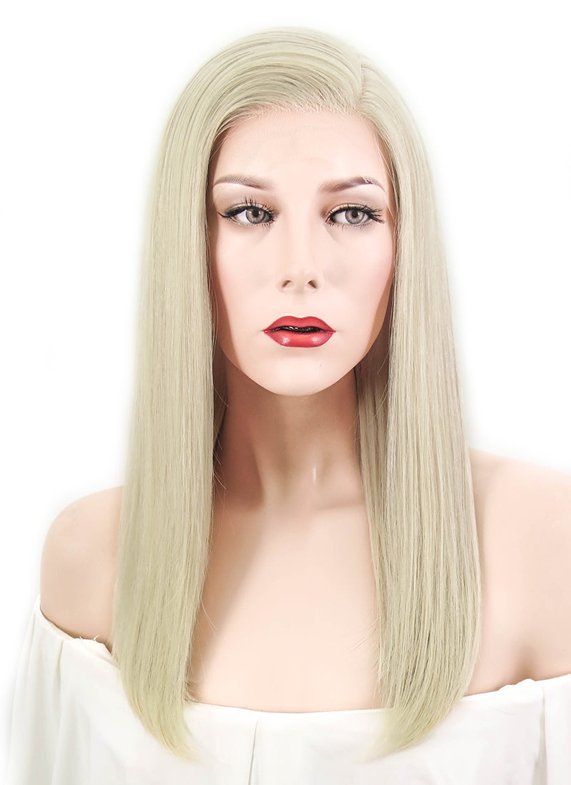 "14"" Long Straight Ash Blonde Lace Front Brazilian Natural Hair Wig HH140 - wifhair"