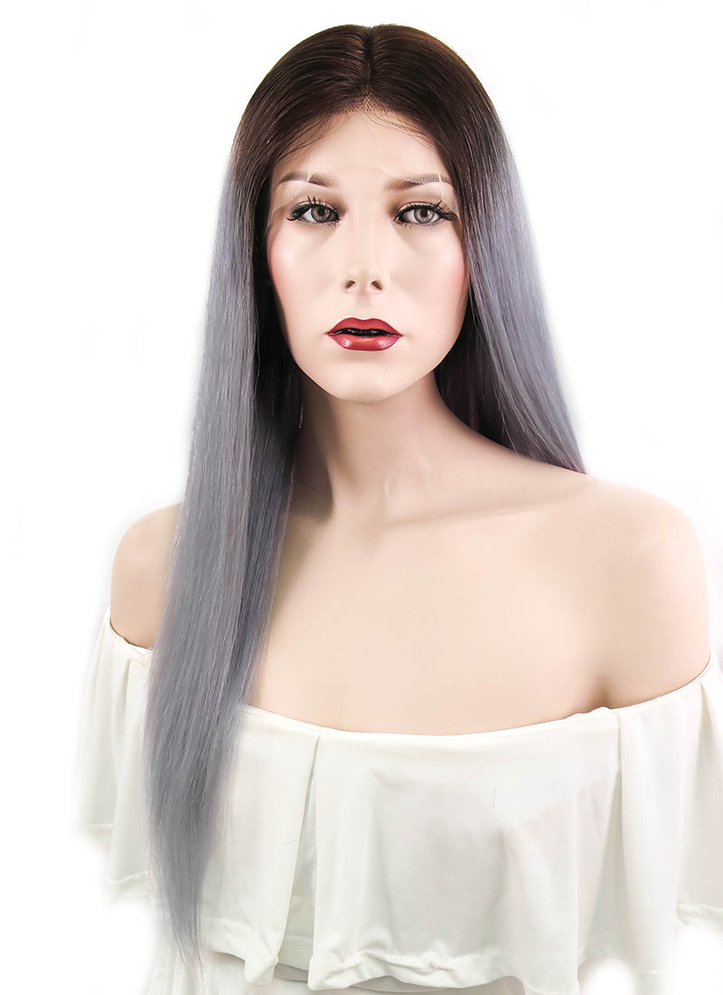 "18"" Long Straight Grey With Dark Brown Roots Lace Front Remy Natural Hair Wig HH143"