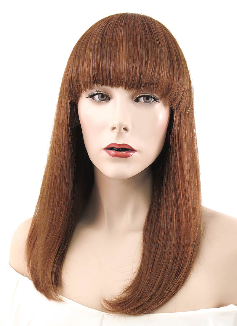 "12""  Long Straight Bob Auburn Lace Front Remy Natural Hair Wig HH145 - wifhair"