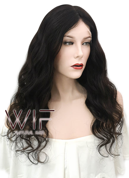"20"" Long Curly Black Full Lace Virgin Human Hair Wig HH146 - wifhair"