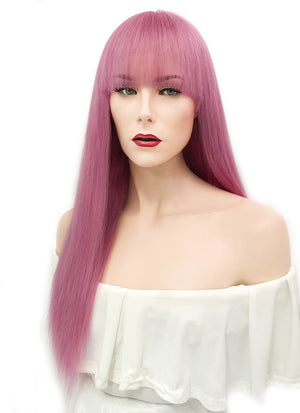 "20"" Long Straight Pink Lace Front Remy Natural Hair Wig HH148 - wifhair"