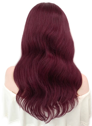 "16"" Long Wavy Burgundy Lace Front Remy Natural Hair Wig HH149 - wifhair"
