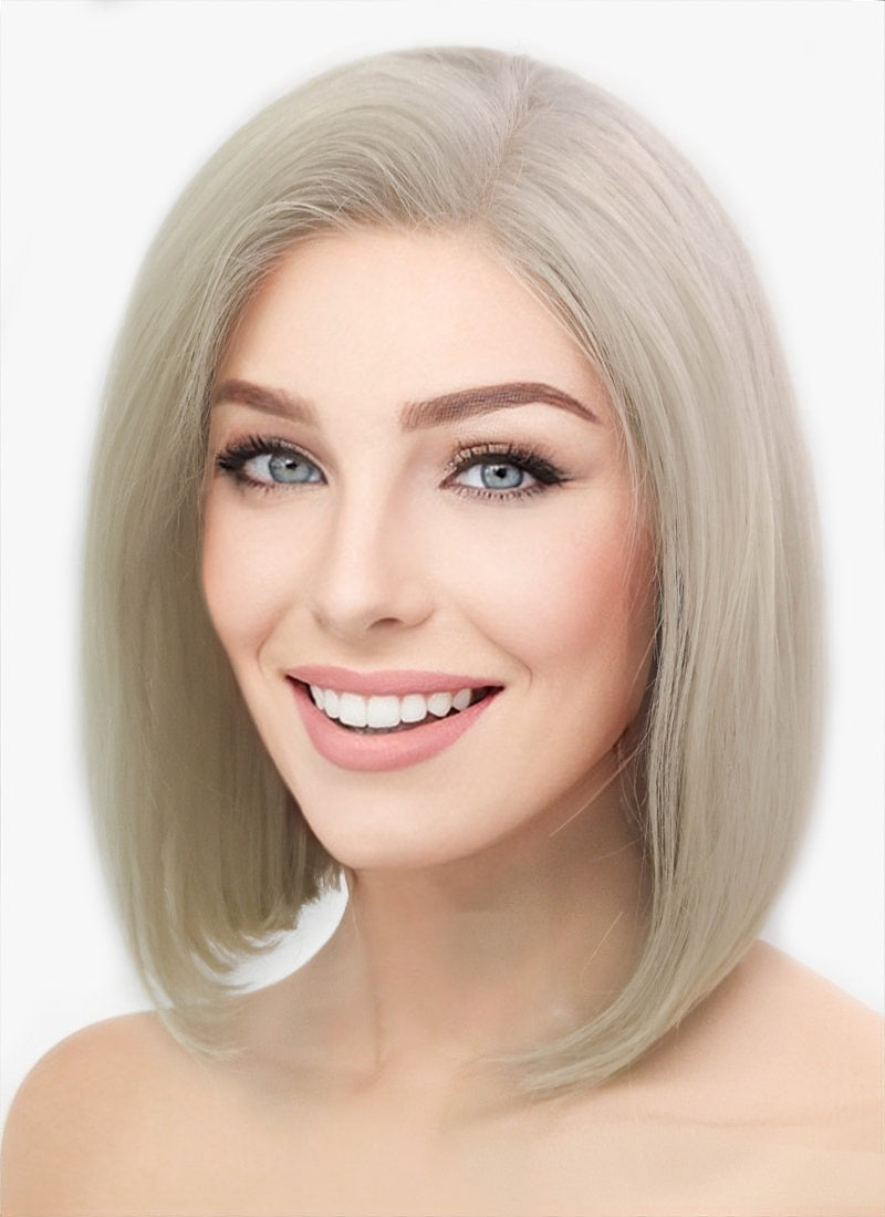 "12"" Short Straight Classic Bob Ash Blonde Lace Front Brazilian Natural Hair Wig HH151 - wifhair"