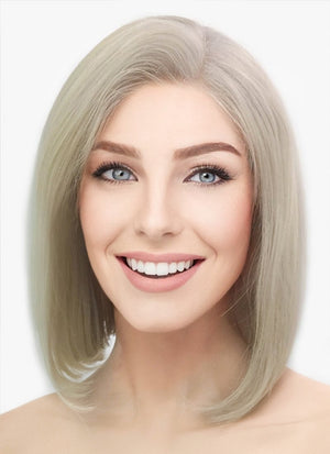 "12"" Medium Straight Classic Bob Ash Blonde Lace Front Brazilian Natural Hair Wig HH151 - wifhair"
