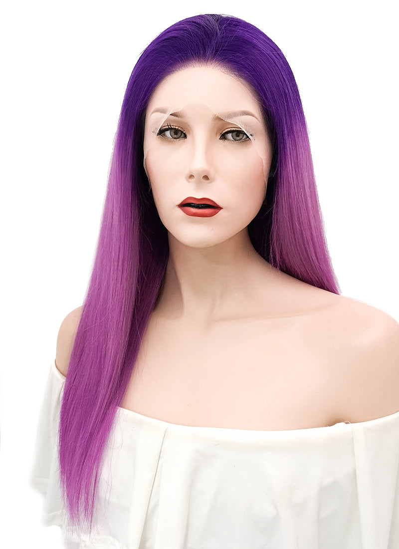 "18"" Long Straight Mixed Purple Lace Front Remy Natural Hair Wig HH154 - wifhair"