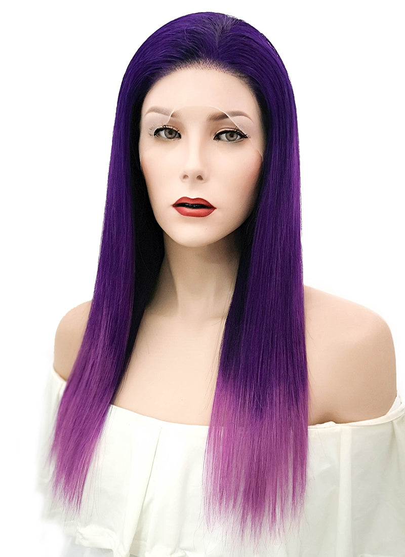 "18"" Long Straight Mixed Purple Lace Front Remy Natural Hair Wig HH155 - wifhair"