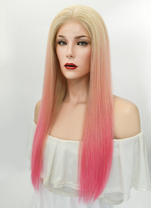 "24"" Long Straight Blonde Pink Ombre Full Lace Virgin Natural Hair Wig HH161 - wifhair"