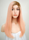 "16"" Long Straight Pink With Brown Roots Glueless Lace Brazilian Natural Hair Wig HL001"