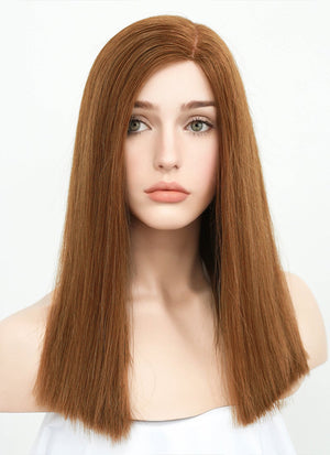 "16"" Long Straight Brown Glueless Lace Brazilian Natural Hair Wig HL004 - wifhair"
