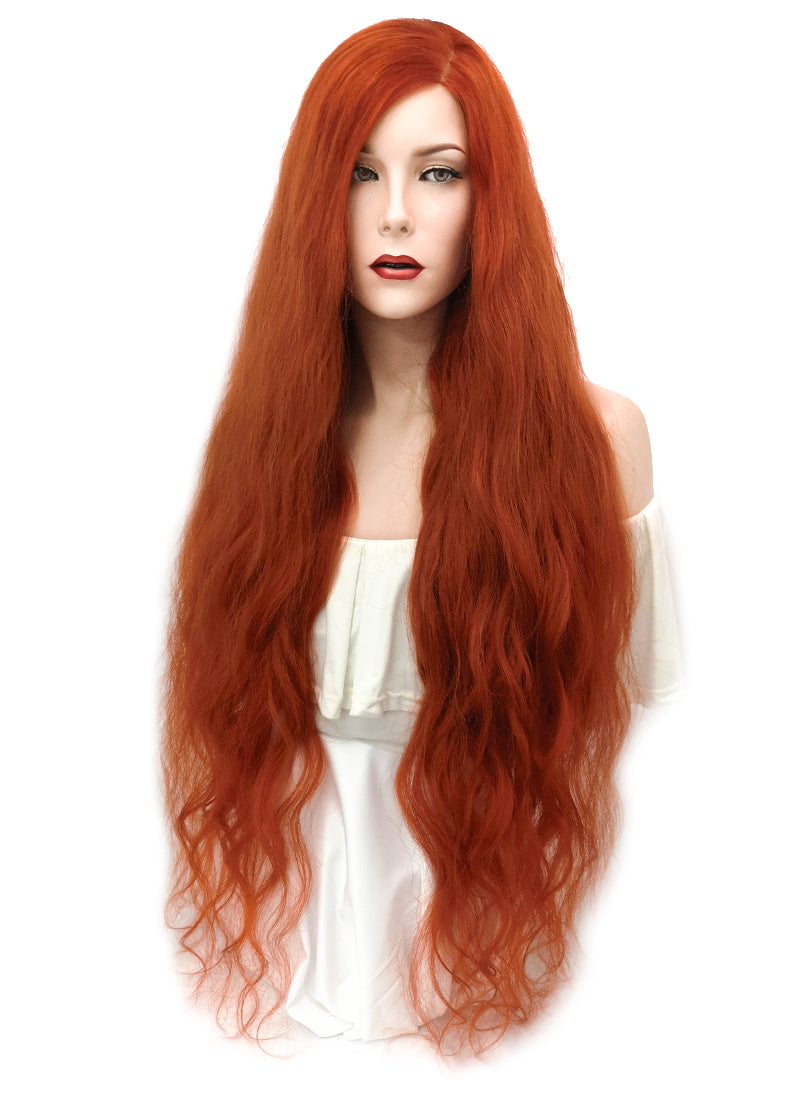 "34"" Long Wavy Auburn Glueless Lace Brazilian Natural Hair Wig HL002"