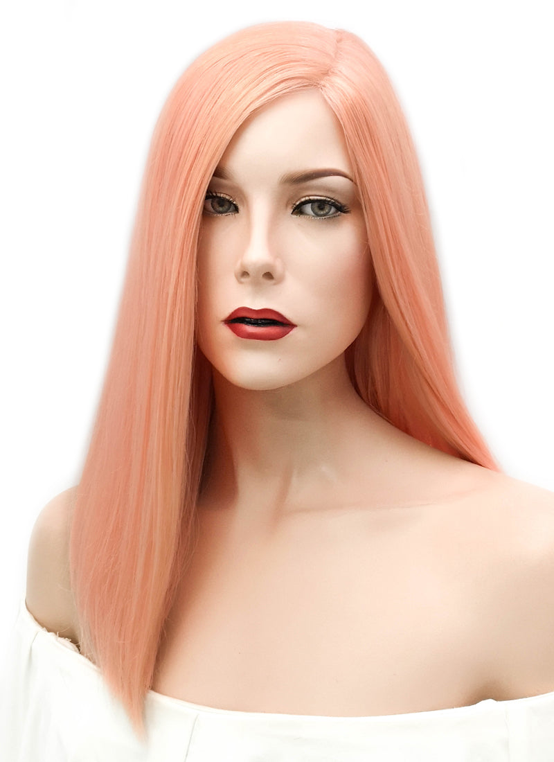 "16"" Long Straight Peach Pink Glueless Lace Brazilian Natural Hair Wig HL003 - wifhair"