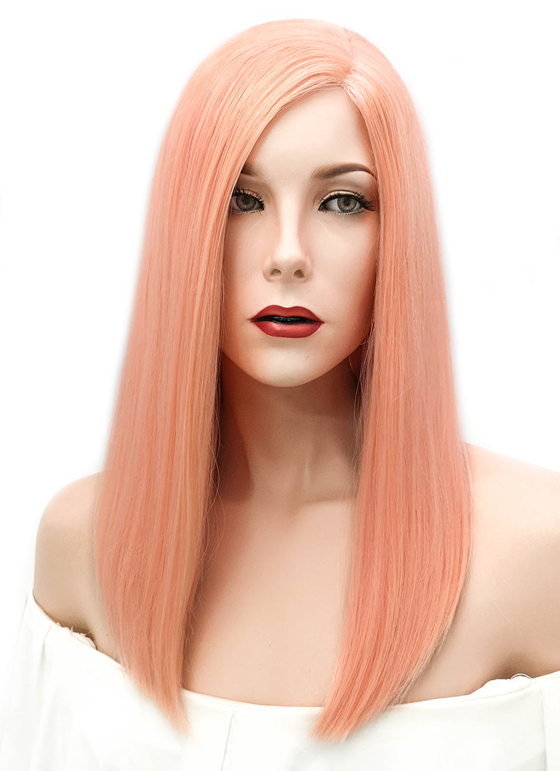 "16"" Long Straight Peach Pink Glueless Lace Brazilian Natural Hair Wig HL003"