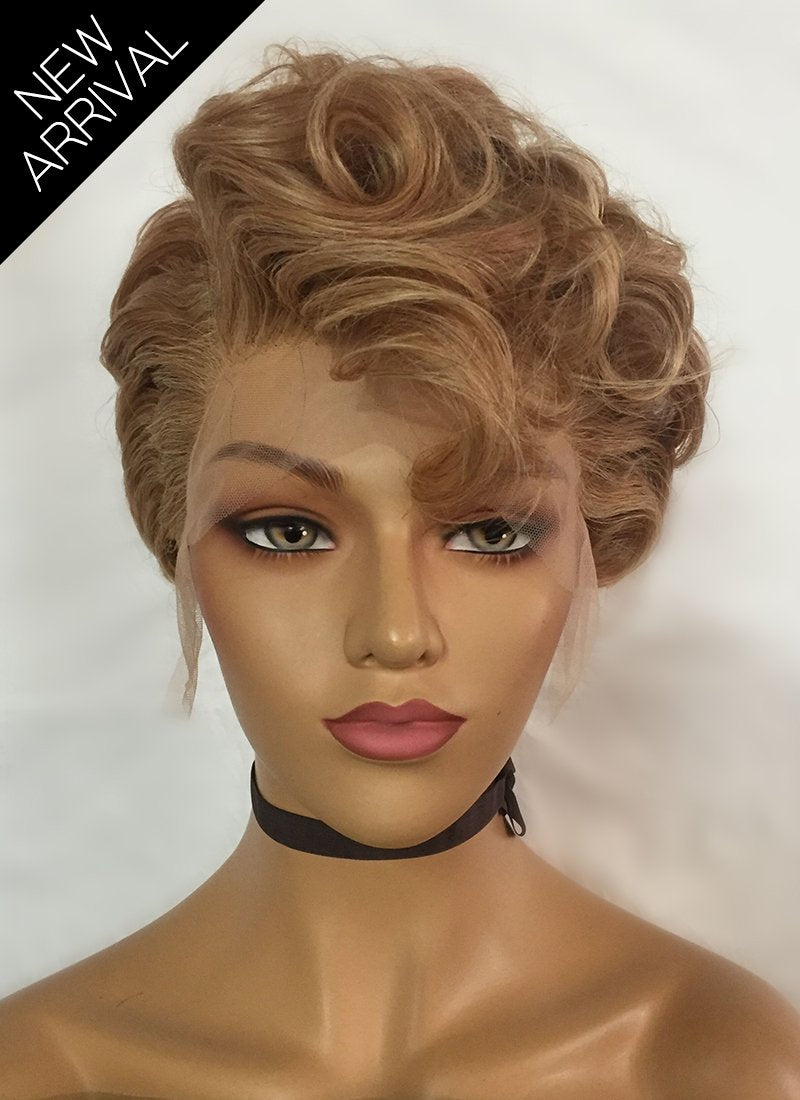 "8"" Short Curly Honey Blonde Lace Front Remy Natural Hair Wig HP001 - wifhair"