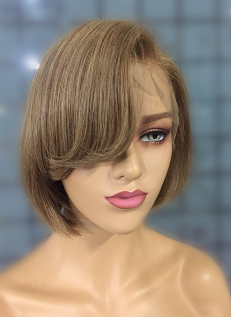 "8"" Short Straight Bob Honey Blonde Lace Front Remy Natural Hair Wig HP002 - wifhair"