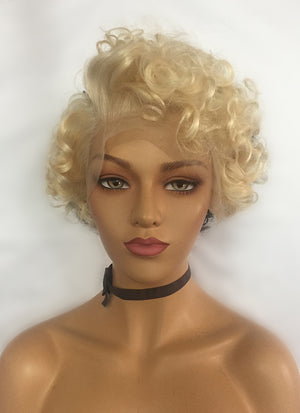 "10"" Short Curly Blonde Mixed Black Lace Front Remy Natural Hair Wig HP003 - wifhair"